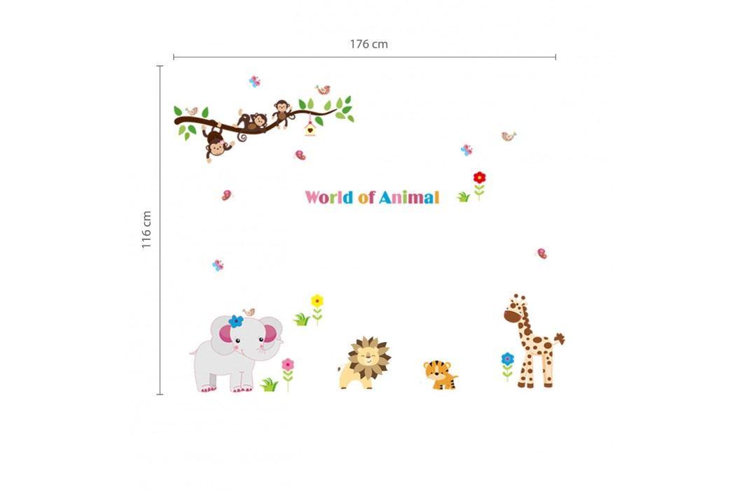Walplus Samolepka na zeď Svět zvířat, 176x116 cm