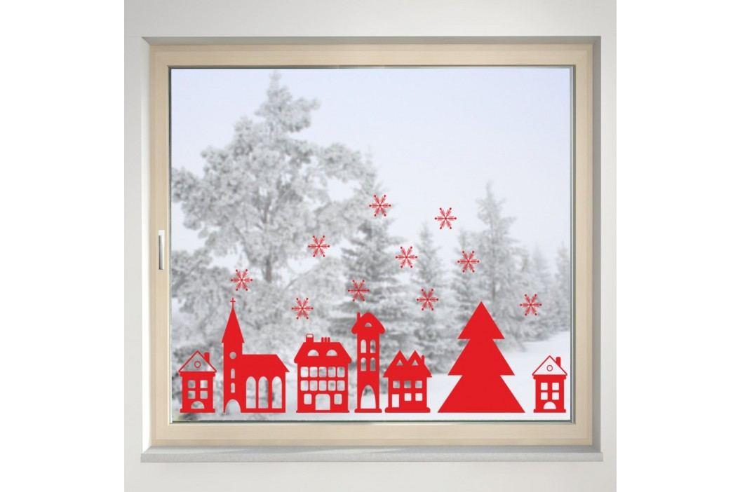 Housedecor Samolepka na sklo Červené zasněžené město