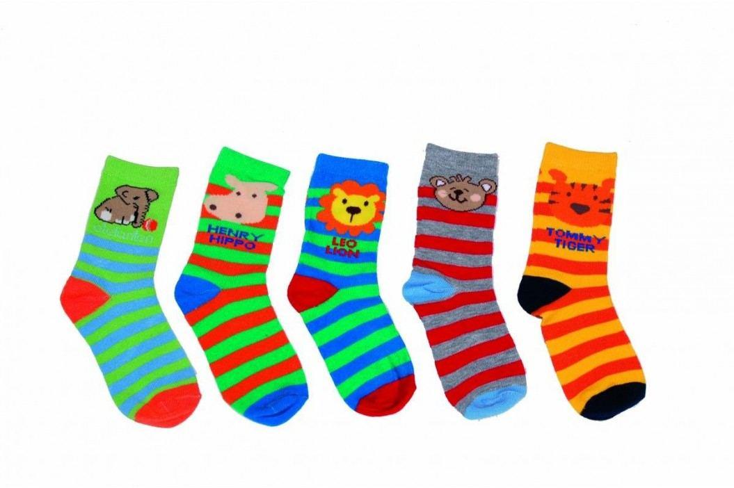 PIDILIDI Dětská sada 5 párů proužkovaných ponožek - barevná