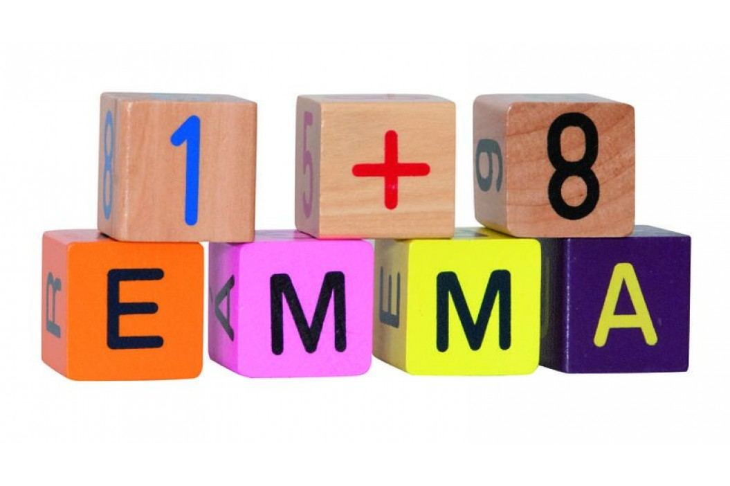 WOODY Barevné kostky s písmeny a čísly , 40 ks