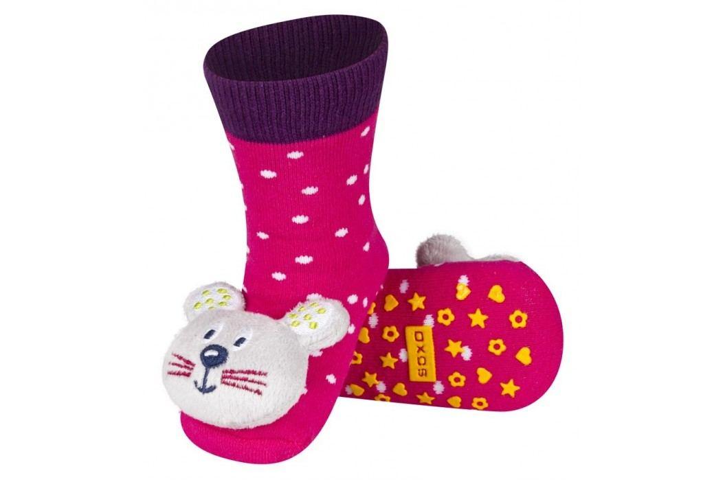 SOXO® Dívčí protiskluzové ponožky s myškou - růžové