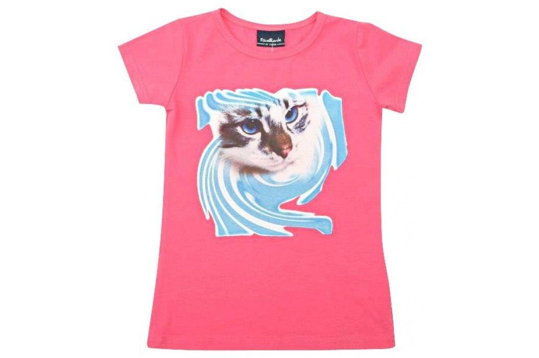 Escallante Dívčí tričko s kočičkou - růžové