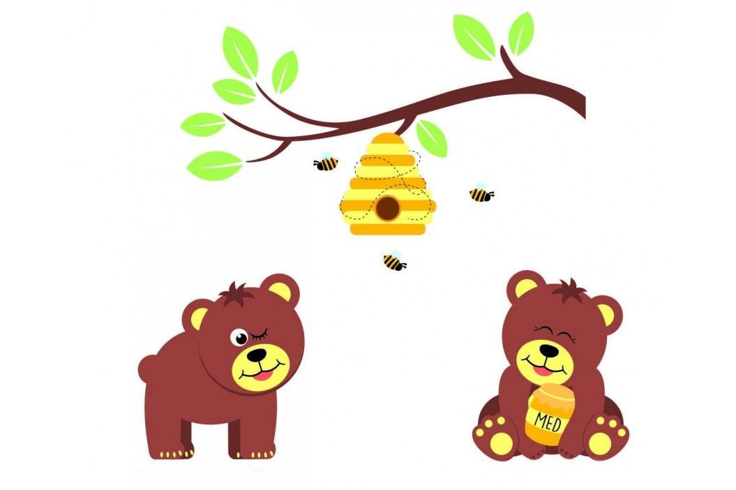 Housedecor Samolepka na zeď Medvídci a včelky