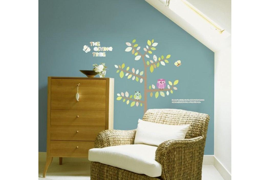 Ambiance Dekorační samolepky- Sovy a motýli na stromě