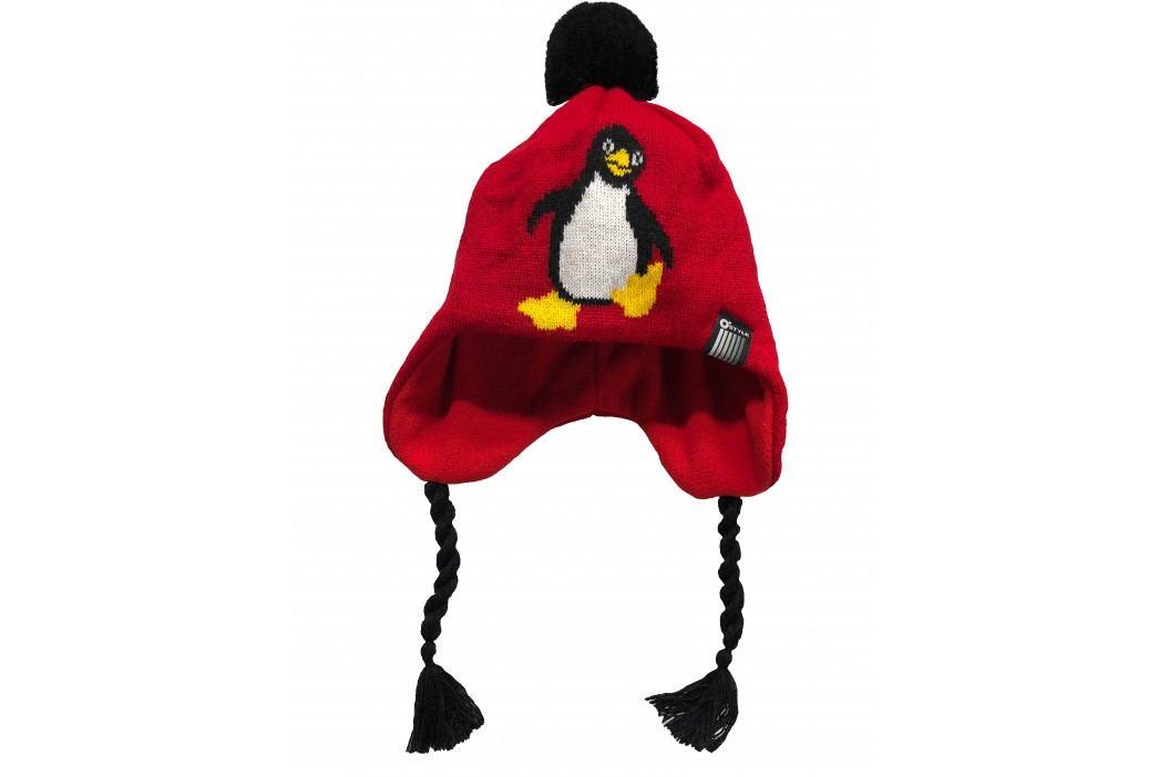 O'Style Dívčí čepice s tučňákem - červená