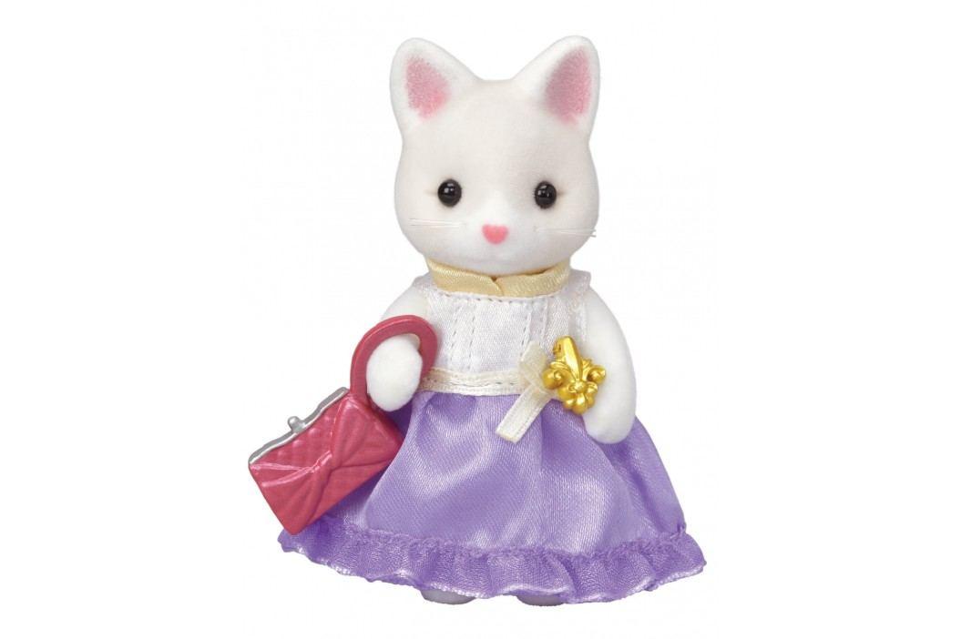 Sylvanian Families Město - hedvábná kočka ve fialových šatech s kabelkou