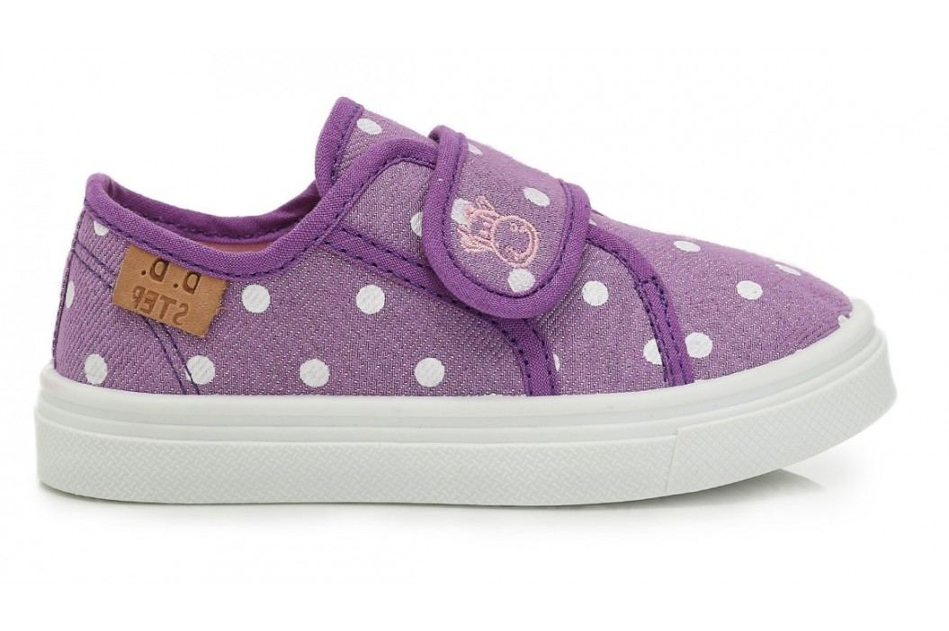 D.D.step Dívčí plátěné tenisky s puntíky - fialové