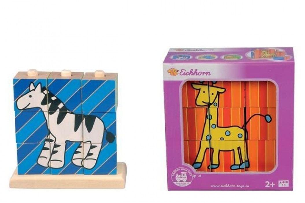 Simba Dřevěné nasouvací kostky, 9 kostek se 4 obrázky