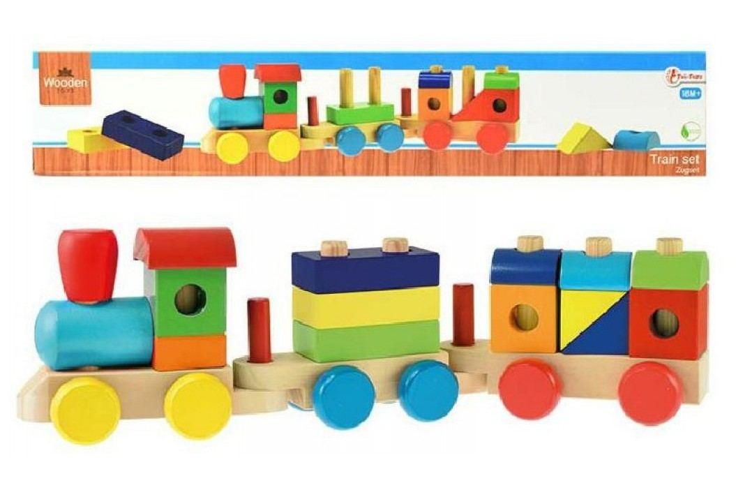 Teddies Vlak + 2 vagóny dřevo