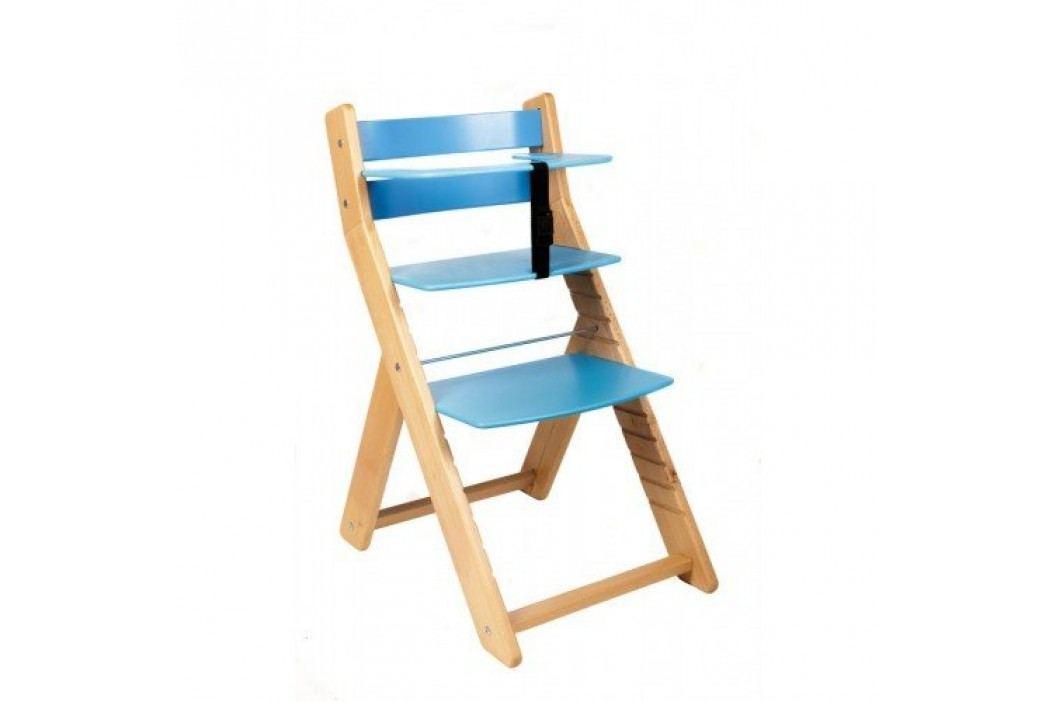 WOOD PARTNER Rostoucí židle UNIZE - natur lak - modrá