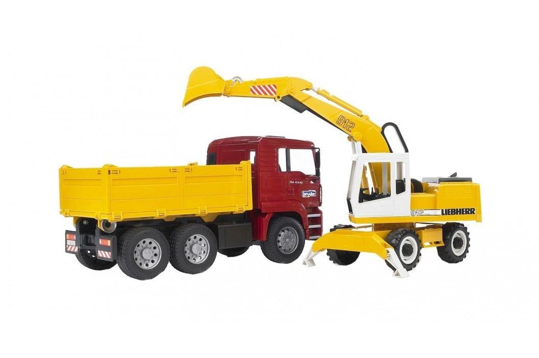 Bruder MAN TGA nákladní auto s Liebherr bagrem