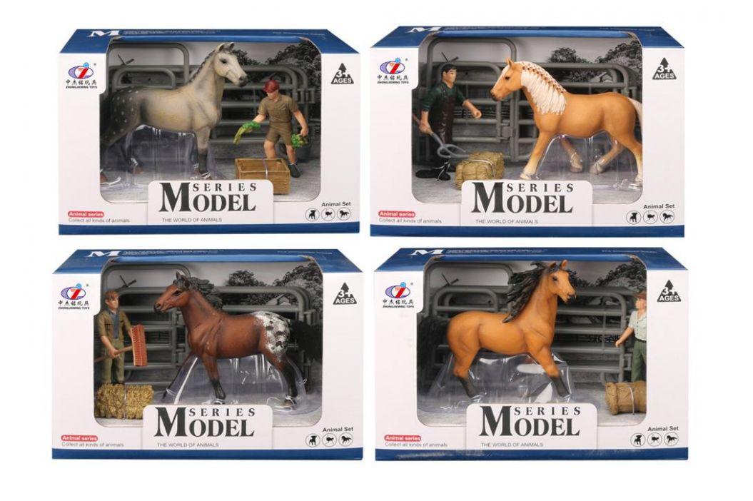 Alltoys EP Line Series Model Svět zvířat Sada 2 Kůň s figurkou hnědý kůň
