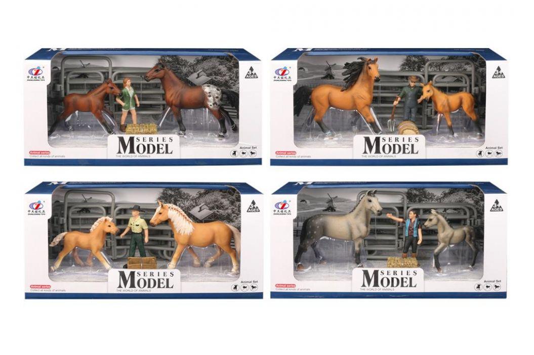 Alltoys EP Line Series Model Svět zvířat Sada 2 Kůň a hříbě s figurkou světle hnědé koně s černou hřívou