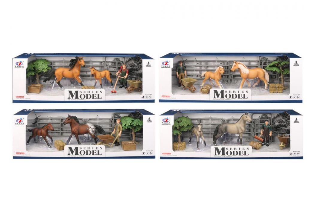 Alltoys EP Line Series Model Svět zvířat Sada 1 s figurkou koněm a hříbětem světle hnědý s černou hřívou