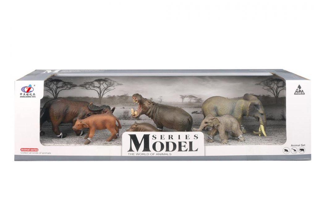 Alltoys Sada Model Svět zvířat buvoli, hroši a sloni, máma + mládě