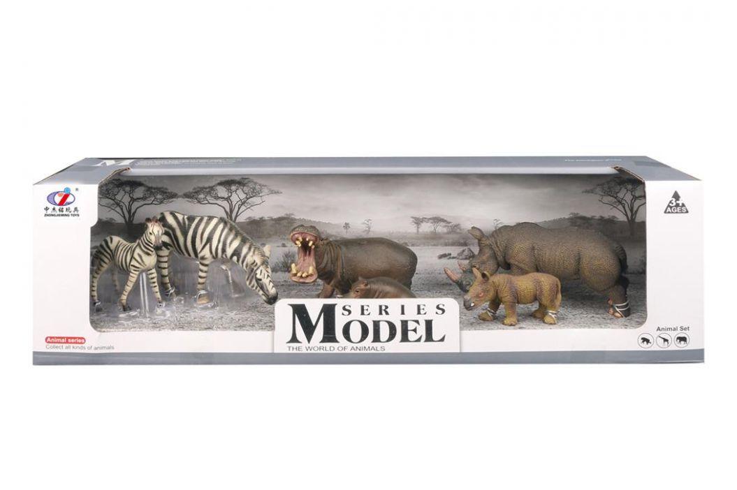 Alltoys Sada Model Svět zvířat zebry, hroši, nosorožci, máma + mládě