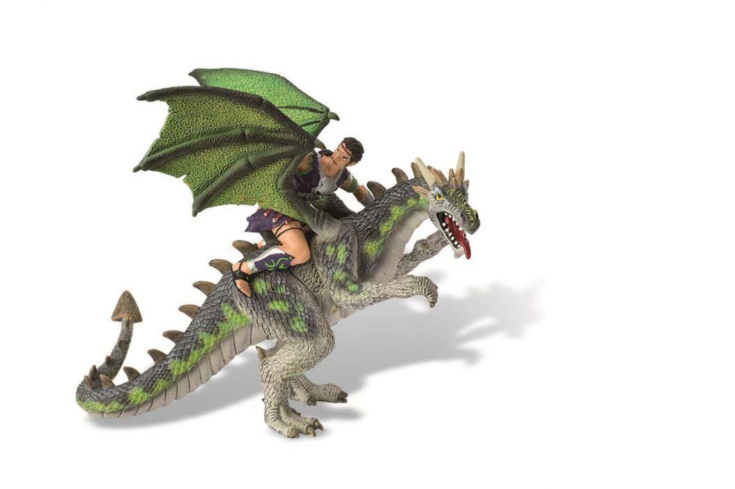 BULLYLAND Drak s jezdcem zelený