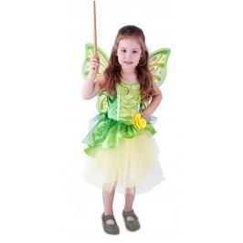 Rappa Karnevalový kostým víla Zelenka s křídly, vel. M (116-128)