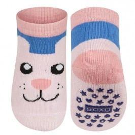 SOXO® Dětské protiskluzové ponožky s kočkou - růžové