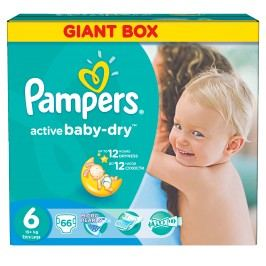 Pampers Active Baby-dry 6 Extra Large, 66 ks (15 kg+) - jednorázové pleny