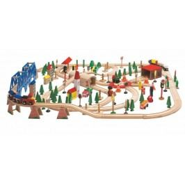 WOODY Vláčkodráha Super Train v dřevěné krabici, 170 dílů
