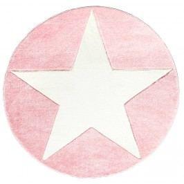 Happy Rugs Dětský kruhový koberec s hvězdou - růžový, průměr 133 cm
