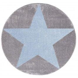 Happy Rugs Dětský kruhový koberec s modrou hvězdou - šedý, průměr 133 cm