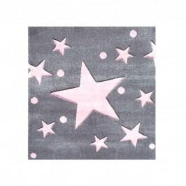 Happy Rugs Dětský koberec šedý s růžovými hvězdami, 140x140 cm
