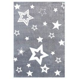 Happy Rugs Dětský koberec šedý s bílými hvězdami, 130x190 cm