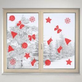 Housedecor Samolepka na sklo Červené dekorace