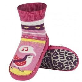 SOXO® Dívčí ponožky s podrážkou Ptáček - růžové