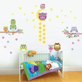 Walplus Samolepky na zeď Strom se sovičkami a sovy s hvězdičkami, 126x87 cm