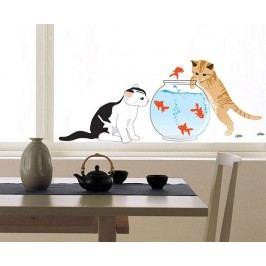 Ambiance Dekorační samolepky - kočky a akvárko