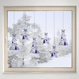 Housedecor Samolepka na sklo Hvězdičky a stromečky