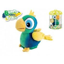 Mikro hračky Papoušek Benny opakující slova 15 cm