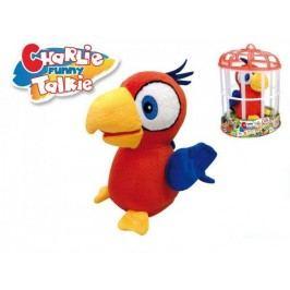 Mikro hračky Papoušek Charlie opakující slova 15 cm