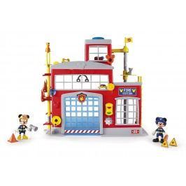 Mikro hračky Mickey Mouse hasičská stanice + 2 figurky