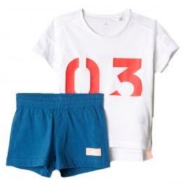 adidas Dívčí set trička a šortek 03 - bílo-modrý
