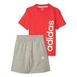 adidas Dívčí set trička a šortek - červeno-šedý