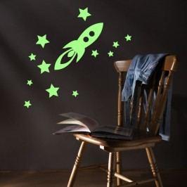 Fanastick Nástěnná svítící samolepka Raketa s hvězdami