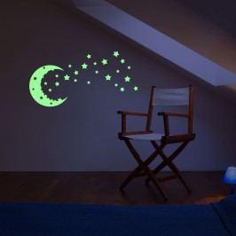 Ambiance Nástěnná svítící samolepka Měsíc a hvězdy