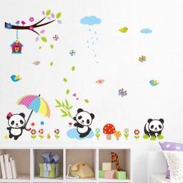 Fanastick Nástěnná samolepka Pandy v dešti