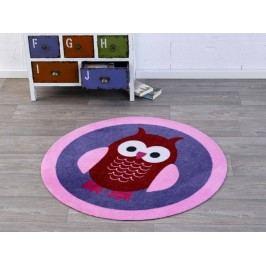Hanse Home Dětský kulatý koberec Sova, 100 cm - tmavě fialový