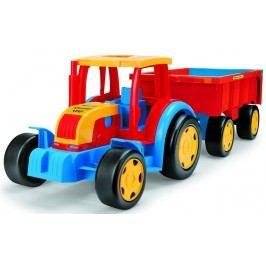 WADER Traktor Gigant s vlekem plast 102 cm - červený s červeným vlekem