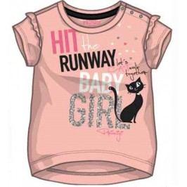Primigi Dívčí tričko s kočkou - světle růžové