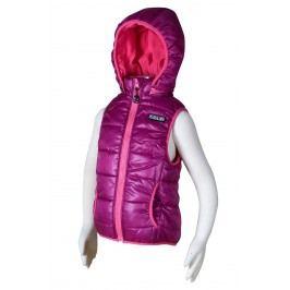 PIDILIDI Dívčí prošívaná vesta s odepínací kapucí - růžová