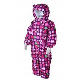 PIDILIDI Dívčí zimní kombinéza s puntíky- růžová