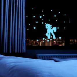 MaDéco Nástěnná svítící samolepka Jednorožec s hvězdičkami