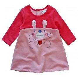 Gelati Dívčí šaty s králíkem - červeno-růžové