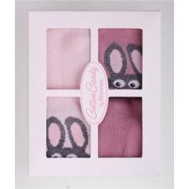 STEVEN Sada dívčích ponožek s králíčky 4 páry - růžové